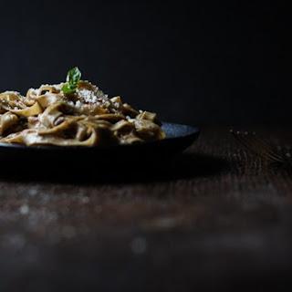 Homemade Tagliatelle with Black Garlic Eggplant Sauce