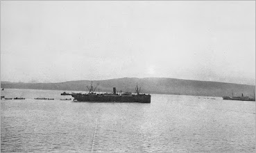 Photo: HMT Novian.  10th to 12th July 1915, the 10th Division is detailed for service in the Dardanelles.   The 5th Battalion Royal Innskilling Fusiliers embark at Davenport aboard the HMT Novian.