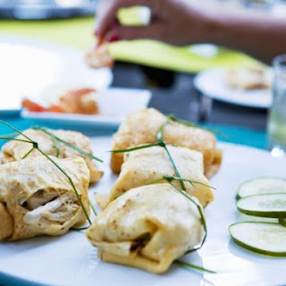 Chicken-stuffed Crepe Parcels.