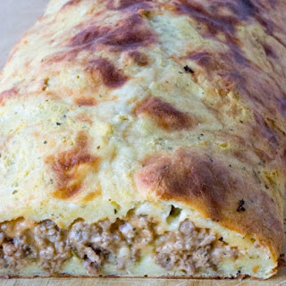 Low Carb Grain Free Bacon Cheeseburger Calzone.