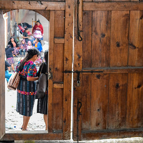 Church door in Chichicastenango by Luis Albanes - City,  Street & Park  Historic Districts ( door, chichicastenango, church, girls, guatemala, mayan )