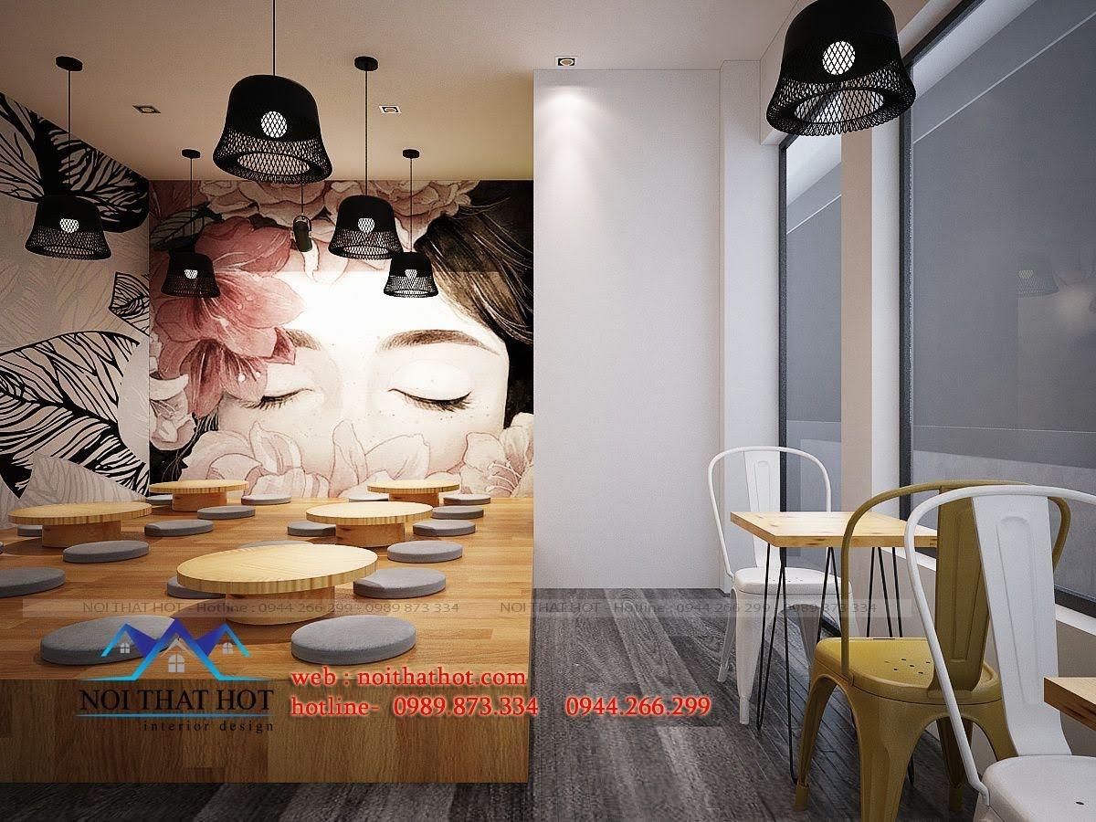 thiết kế quán trà sữa 90m2
