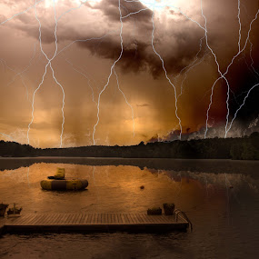 Fire in the Sky by Luke Popwell - Landscapes Waterscapes ( reflection, colorful, lakes, alabama, dock, nature, awesome, dark, pier, walkway, storms, dadeville, fire in the sky, water, clouds, scary, lightning storm, colors, powerful, fire, skies, country, amazing, lightning, lake martin, wonders of nature, strikes, counrty living, natural )