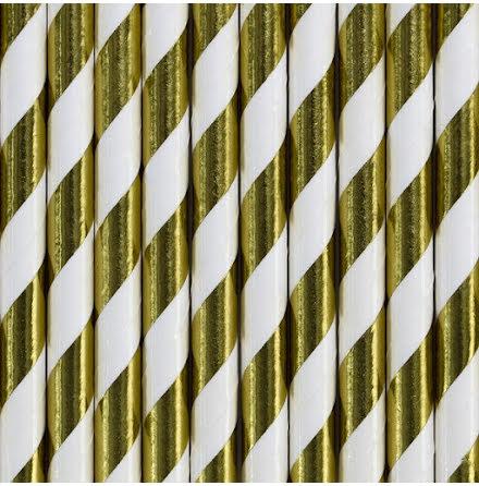 Sugrör - Guld metallic- och vitrandiga