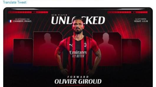 RESMI - Olivier Giroud Gabung AC Milan, Dipuji Mantan Rekan Setim - Bolasport.com