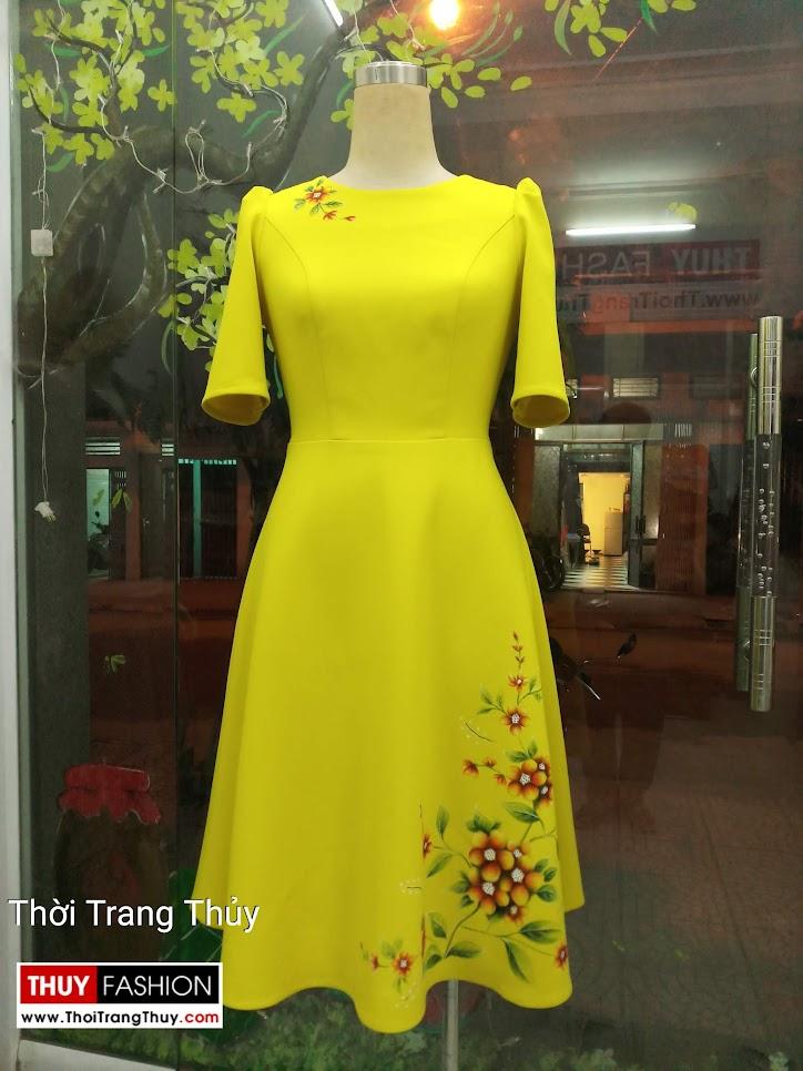 Váy xòe thiên họa tiết hoa vẽ tay màu vàng V657 thời trang thùy
