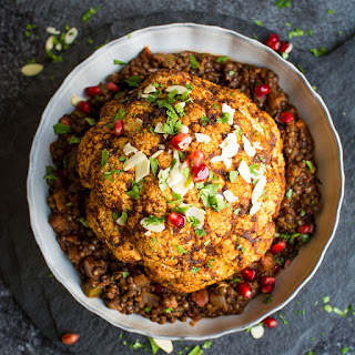 Vegan Christmas Dinner Main Dish – Spiced Baked Cauliflower with Spicy Lentils.