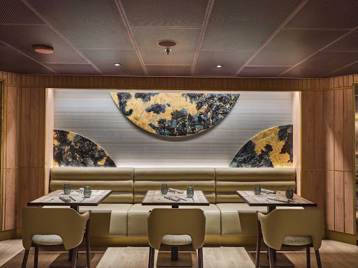 The decorative interiors of Kaiseki, the Japanese-inspired restaurant on Silver Moon.