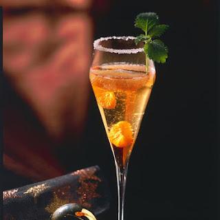 Mandarin and Grapefruit Champagne Cocktail.