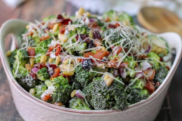 Broccoli Crunch Salad With A Parmesan Twist In A Serving Bowl.