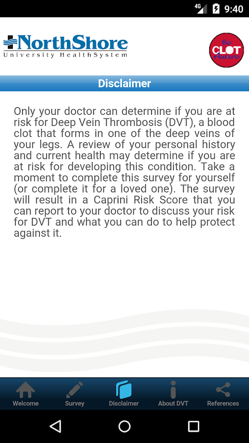 Caprini DVT Risk- screenshot