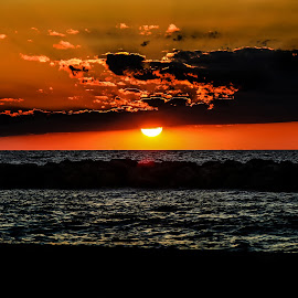 Cloudy sunset by Paul Drajem - Landscapes Sunsets & Sunrises ( lake )
