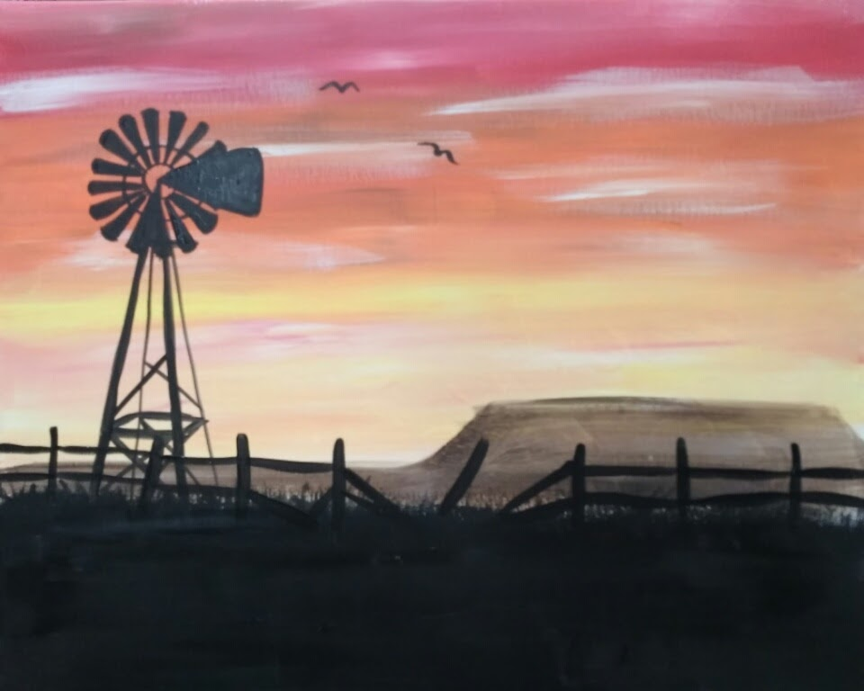 windmill sunset paint nite