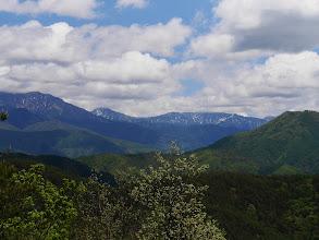 中央に間ノ岳(右)と北岳(左)