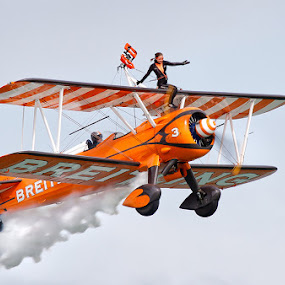 Over the edge by Neil O'Connell - Transportation Airplanes ( flight, aviation, breitling, aircraft, show, display, eastbourne, airshow, wingwalker )