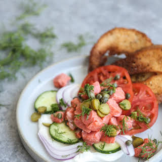 Dill Pickle Salmon Ceviche with Gluten-Free Bagel Chips.