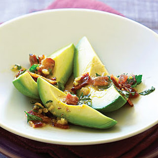 Avocados with Warm Bacon Parsley Vinaigrette