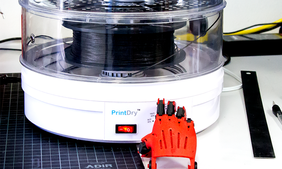 Successfully print hygroscopic filaments with ease by using a PrintDry Filament Drying System.
