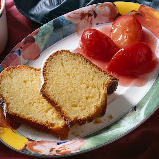 Quarkkuchen mit Zwetschgenkompott