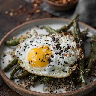 Sesame Green Beans with Quinoa and Eggs.