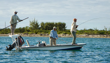 Photo: Dave Kitchen hooked-up and Jack Dildine about to. Fishing some deeper water on Andros