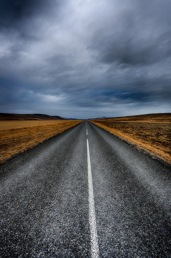 Country Road by Luca Libralato - City,  Street & Park  Vistas ( clouds, iceland, road, country road, country )
