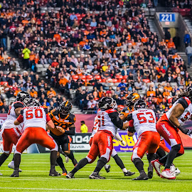 Protecting The QB by Garry Dosa - Sports & Fitness American and Canadian football ( sports, teams, city, players, cfl, black, quarterback, football, people, professional, red, orange, qb, number, white, blocking, indoors, action, stadium, october, evening, sport, colours )