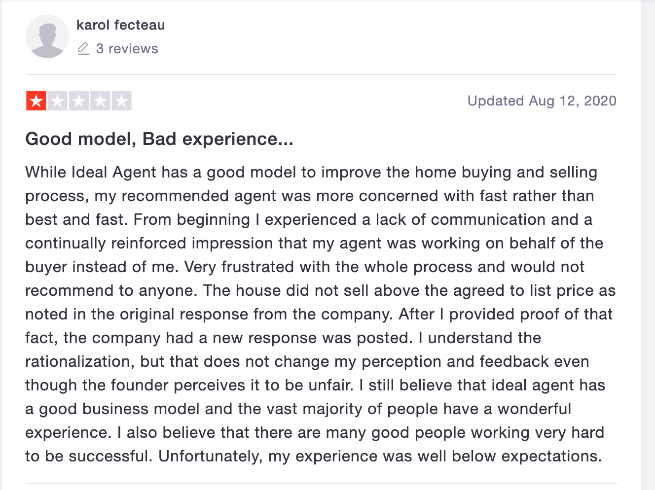 ideal agent bad review