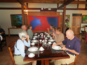 Photo: Half our group at dinner, Tortuga Lodge.