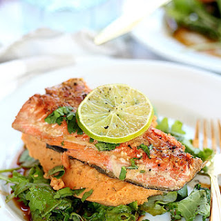 Teriyaki Salmon with Spicy Chickpea Sweet Potato Puree Recipe