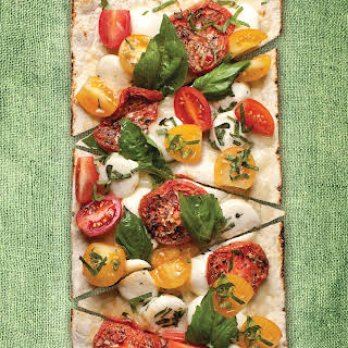 Thin Crust Sundried Margherita Flatbread Pizza.
