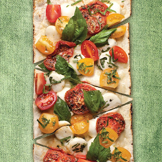 Thin Crust Sundried Margherita Flatbread Pizza.