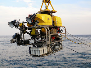 """Photo: The Kraken2 """"science-class"""" ROV is fully equipped with HDMI & LED lights, strobes, HD video camera, auxiliary cameras, digital still camera, sector scanning sonar, altimeter, depth meter, CTD, hydraulic manipulator, and a full suite of sampling tools to maximize data collection on the seafloor (Image courtesy of Gulf of Maine Deep Sea Coral Science Team 2014/NURTEC-UConn/NOAA Fisheries/UMaine)"""