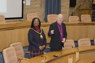 Photo: Bishop Alan with the Mayor of Stevenage, Cllr Sherma Batson, about to welcome Canon Dr Beasley