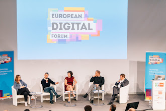 Photo: Andreea Wade, CEO and co-founder, Opening.io; Philipp Kreibohm, managing director and co-founder, Home24; Karen Boers, managing director and co-founder, Startups.be; Rubin Ritter, co-CEO, Zalando SE; Paul Hofheinz, director, European Digital Forum
