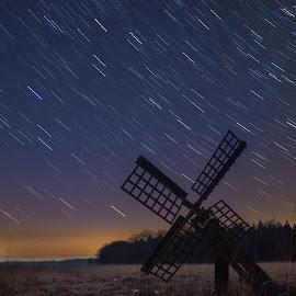 Falling stars by Nico Sinselmeijer - Landscapes Starscapes ( field, mill, startrail, sky, molen, stars, holland, tjalker, dutch, night, startrails, old dutch )