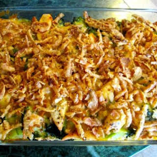 Chicken Broccoli Casserole with French Fried Onions.