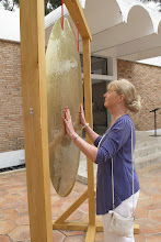 Photo: Kay Murray sensing the vibration at Meight Museum of Modern Art in St. Paul de Vence
