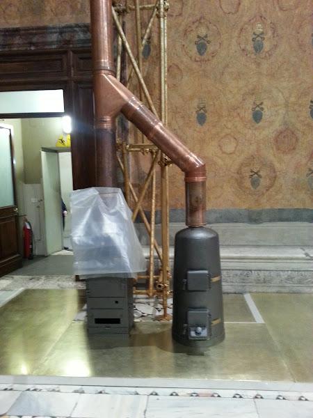 Photo: 030913 Papal Smoke Stacks inside Sistine Chapel
