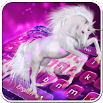 Purple Starry Unicorn Keyboard