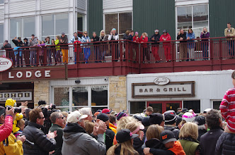 Photo: An overflow crowd spilled above the plaza and onto Legacy Lodge's deck.