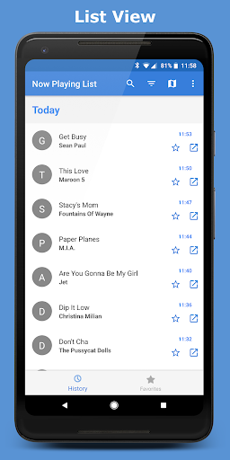 Now Playing List app (apk) free download for Android/PC/Windows screenshot