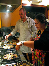 Photo: Mike and Jean frying beef patties