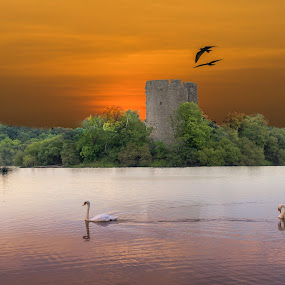 Sunset and Castle. by John Greene - Landscapes Waterscapes ( killeshandra, ireland, sunset, castle, irish landscape, cavan, lough oughter )