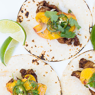 Pork Tacos with Grilled Peaches.