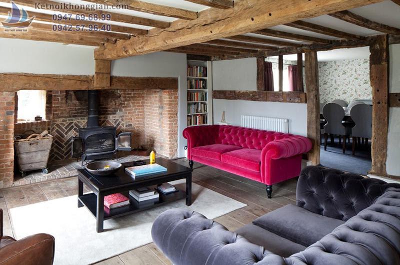 thiết kế phòng khách với sofa hồng