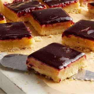 Lime Cornmeal Bars with Blueberry Glaze