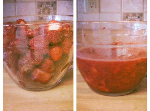 Mash your strawberries - a potato masher works well - leaving the desired sized...