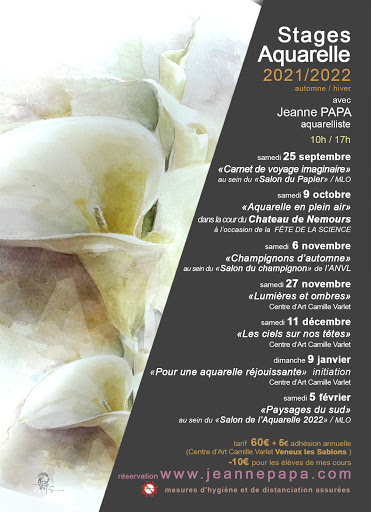 stage aquarelle septembre - octobre - novembre - decembre -  2021 jeanne PAPA fontainebleau Seine et Marne