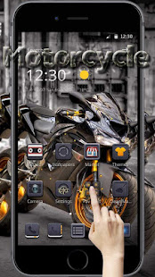 Yellow Cool Reflective Motorcycle Theme - náhled